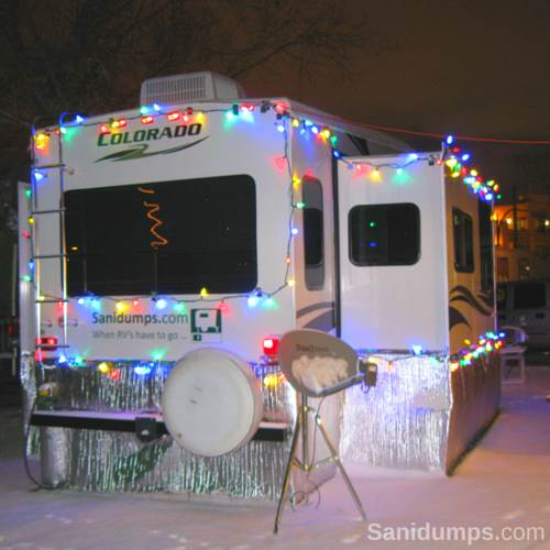 rv with winter snow